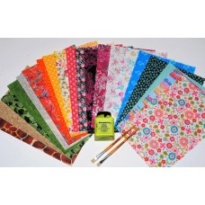 20 Papers, Glue and Brushes Decopatch Value Starter Set
